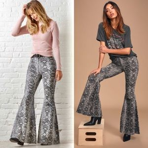 FP Just Float On Taupe Snake Print High Rise Flare